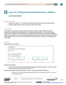 Writing and Evaluating Expressions—Addition and Subtraction Assessment
