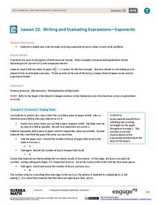 Writing and Evaluating Expressions—Exponents Lesson Plan