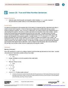 True and False Number Sentences Lesson Plan