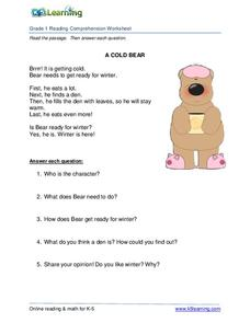 A Cold Bear Worksheet