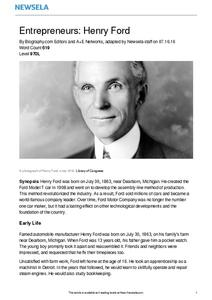 Entrepreneurs: Henry Ford Worksheet