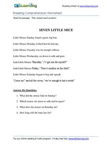 Seven Little Mice Worksheet