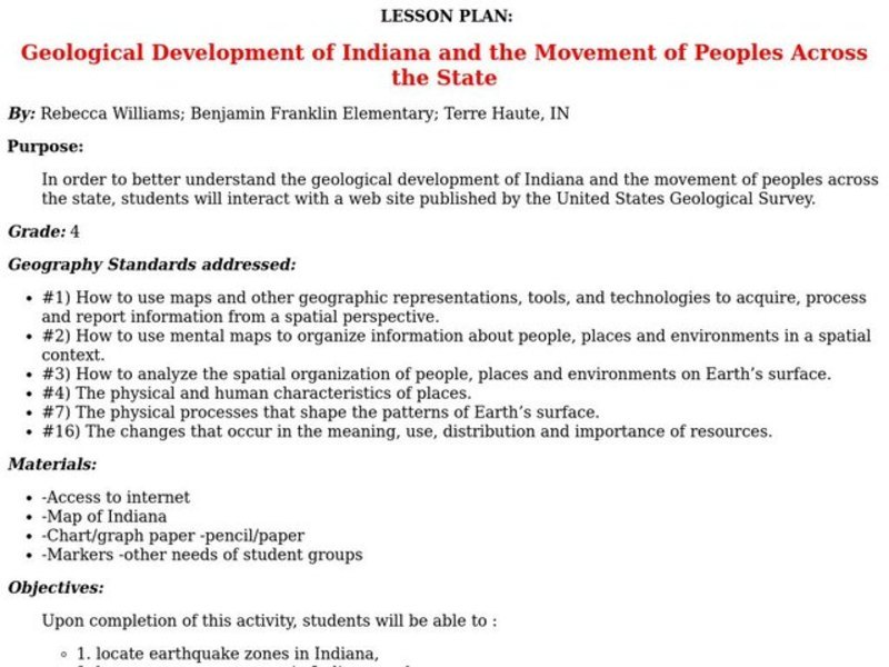 Geological Development of Indiana and the Movement of Peoples Across the State Lesson Plan