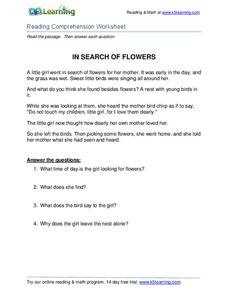 In Search of Flowers Worksheet