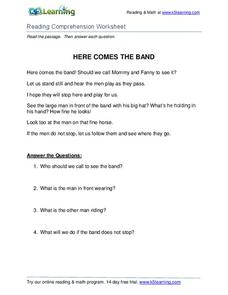 Here Comes the Band Worksheet