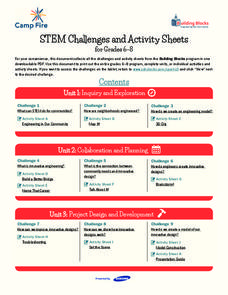 STEM Challenges and Activity Sheets for Grades 6–8 Unit