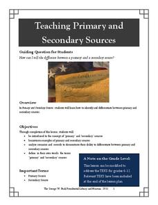 Teaching Primary and Secondary Sources Lesson Plan