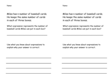 Writing Task 5.OA.2: Expressions Worksheet