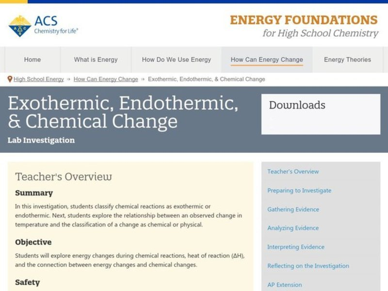 Exothermic, Endothermic, and Chemical Change Activities & Project