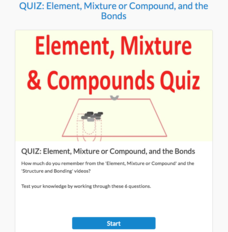 Quiz: Element, Mixture or Compound and the Bonds Interactive