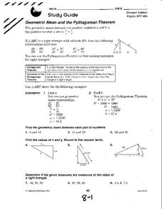 Geometric Mean and the Pythagorean Theorem Worksheet