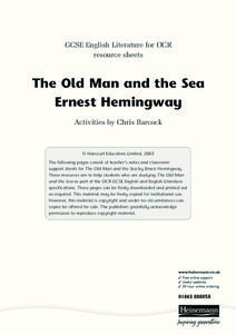 The Old Man and the Sea Ernest Hemingway Activities & Project