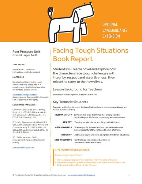 Facing Tough Situations Book Report Lesson Plan