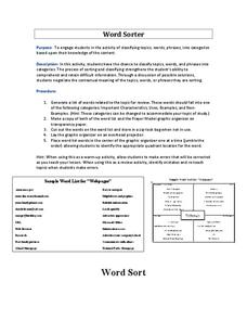 Word Sorter Graphic Organizer