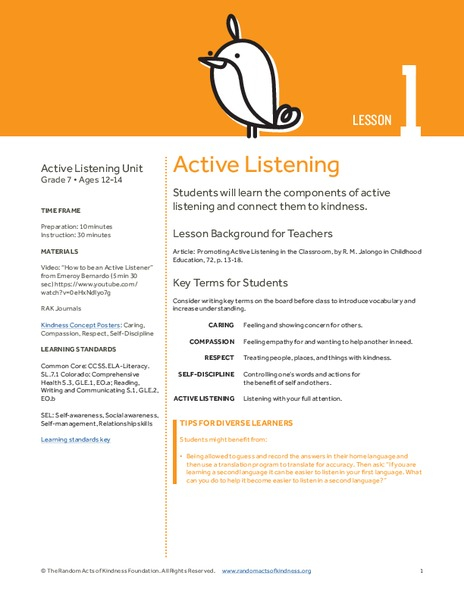 Active Listening Lesson Plan for 7th Grade | Lesson Planet