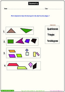 Geometric Shapes Worksheet