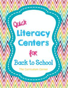 Quick Literacy Centers for Back to School Graphic Organizer