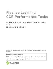 Writing About Informational Text: Music and the Brain Assessment