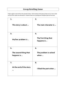 Group Retelling Game Graphic Organizer