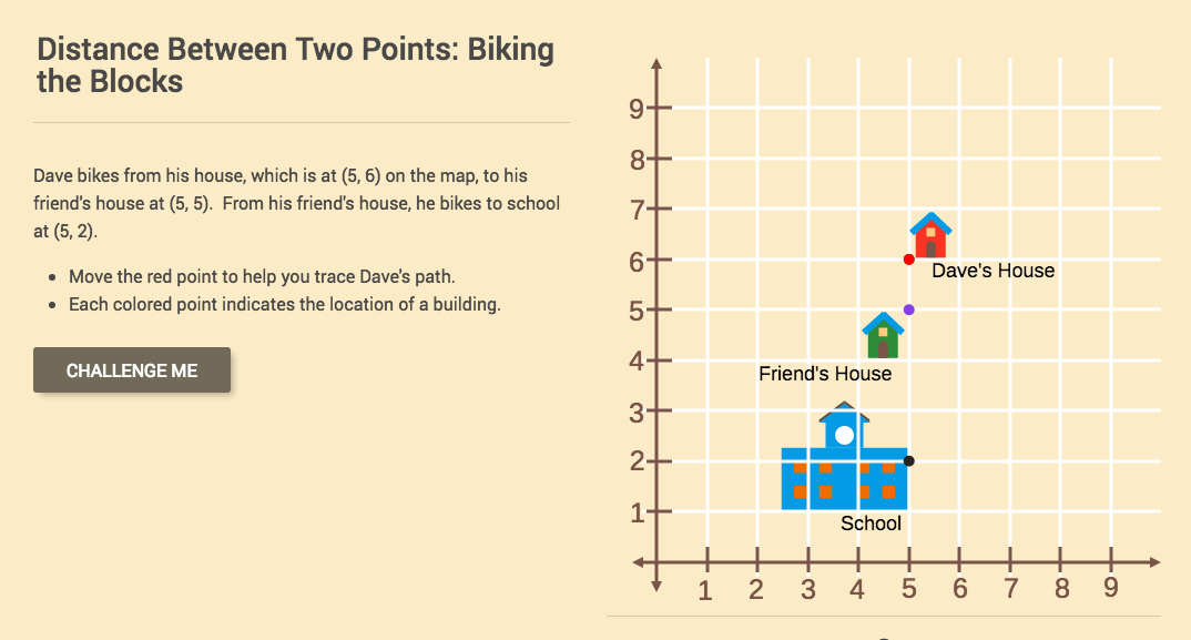 Distance Between Two Points: Biking the Blocks Interactive