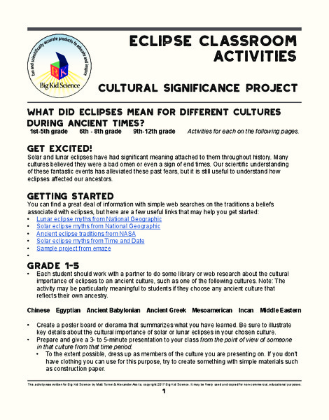 Eclipse Classroom Activities: Cultural Significance Project Activities & Project