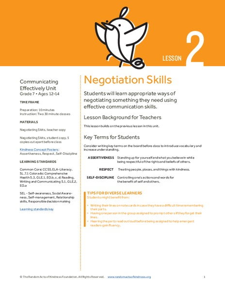 Negotiation Skills Lesson Plan for 7th Grade | Lesson Planet