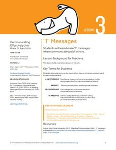 """I"" Messages Lesson Plan"