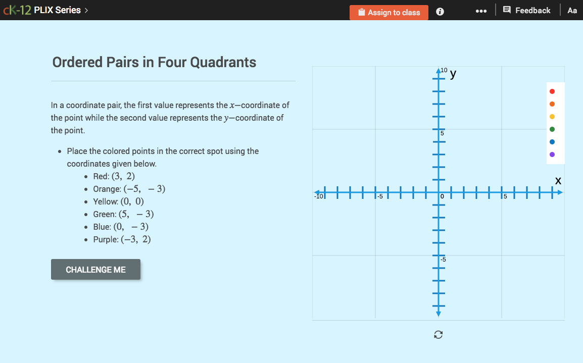 Ordered Pairs In Four Quadrants Interactive For 6th 8th