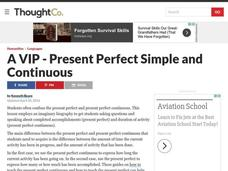 A VIP - Present Perfect Simple and Continuous Lesson Plan