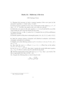 Math 53 - Midterm 1 Review Worksheet