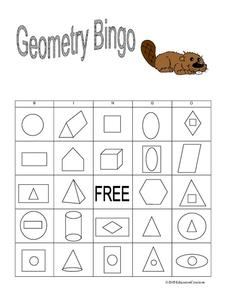 Geometry Bingo Worksheet