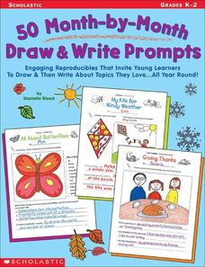 50 Month-by-Month Draw and Write Prompts Worksheet
