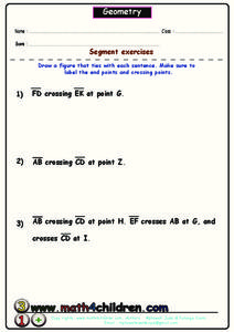 Geometry - Segment Exercises Worksheet