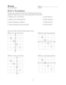 Geometry Exam Worksheet