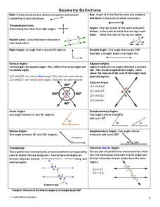 Geometry Definitions Handouts & Reference