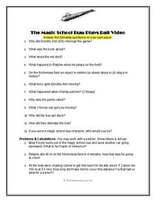 The Magic School Bus Plays Ball Video Worksheet