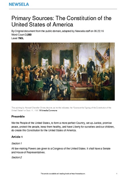 Primary Sources: The Constitution of the United States of America Worksheet