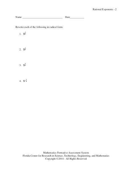 Rational Exponents 2 Assessment