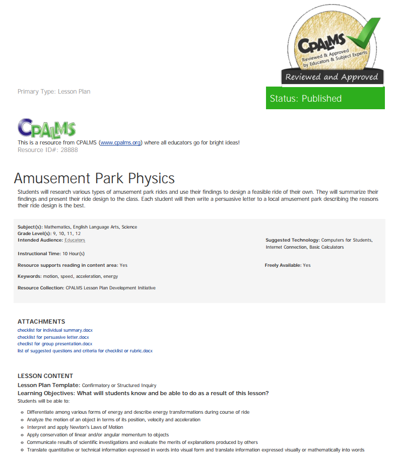 Design Amusement Parks Lesson Plans Worksheets Reviewed By Teachers