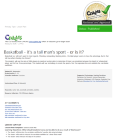 Basketball—It's a Tall Man's Sport, or Is It? Lesson Plan