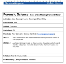 Forensic Science: Case of the Missing Diamond Maker Lesson Plan