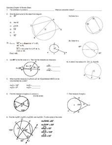 Geometry: Circles Worksheet