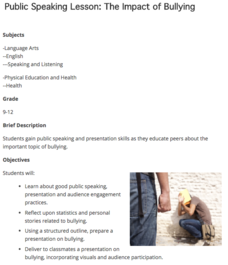 Public Speaking Lesson: The Impact of Bullying Lesson Plan for 9th
