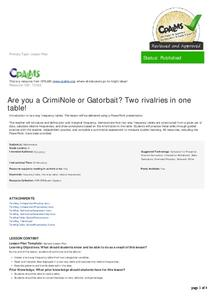 Are You a CrimiNole or Gatorbait? Two Rivalries in One Table! Lesson Plan