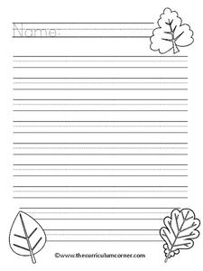Fall Writing Paper Printables & Template