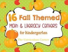 16 Fall Themed Math and Literacy Centers for Kindergarteners Worksheet