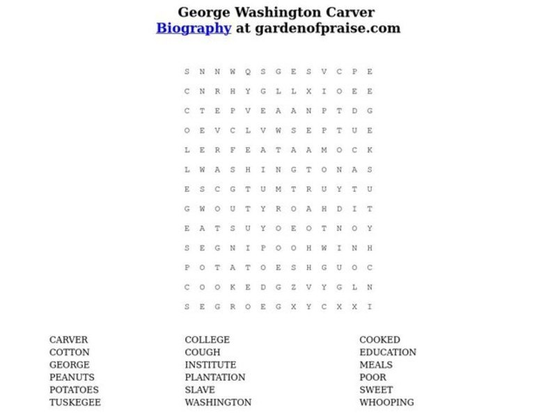 George Washington Carver Word Search Printables & Template