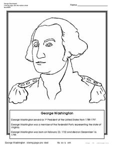 George Washington Coloring Page Worksheet