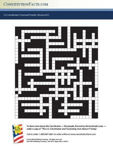 U.S. Constitution Crossword Puzzles: Advanced #1 Worksheet