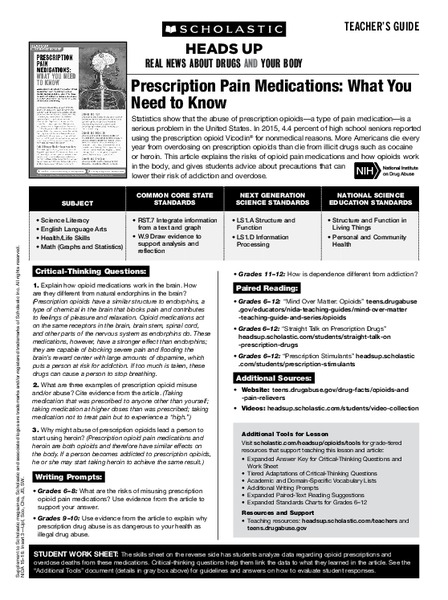 Prescription Pain Medication: What You Need to Know Lesson Plan